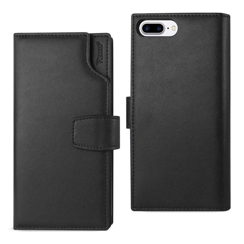 Apple iPhone 8 Plus -  Premium Genuine Leather Wallet Case with RFID and Open Thumb Cut, Black
