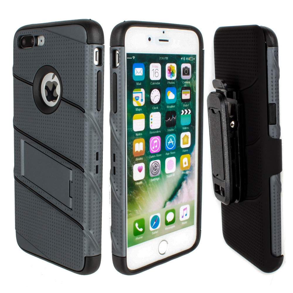 Apple iPhone 7/8 Plus - RoBolt Heavy-Duty Rugged Case and Holster Combo, Dark Gray/Black