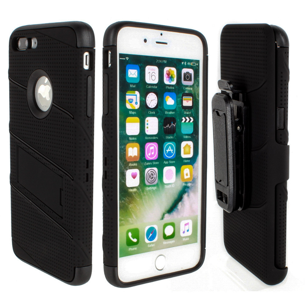 Apple iPhone 7/8 Plus - RoBolt Heavy-Duty Rugged Case and Holster Combo, Black