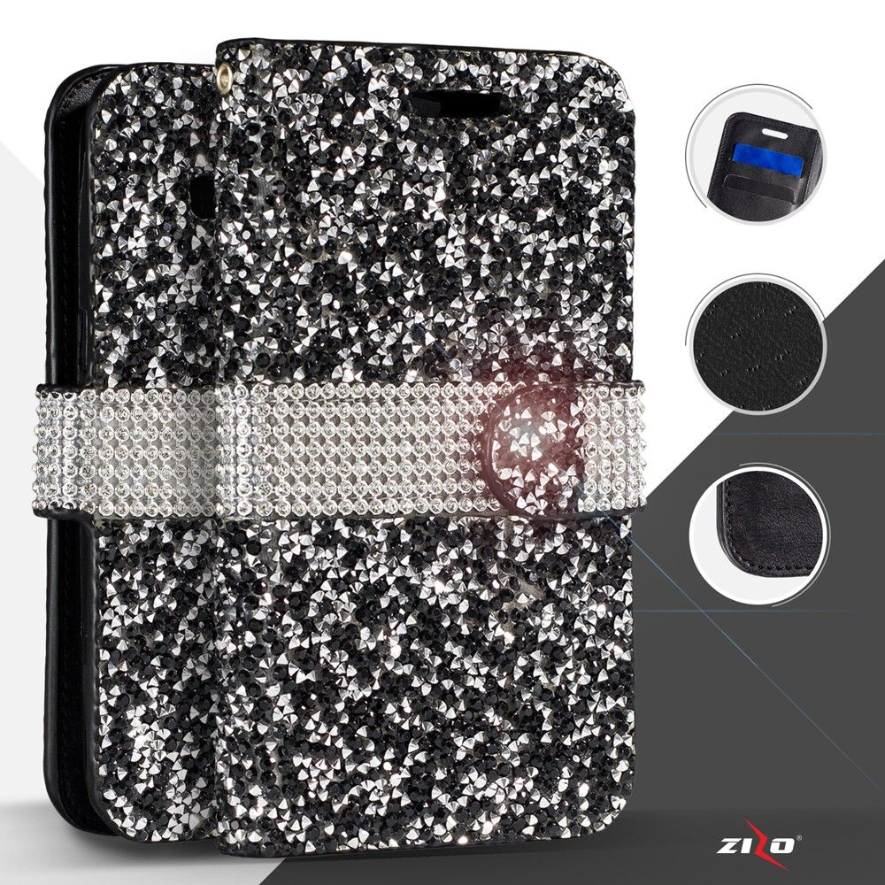 Apple iPhone 8 Plus -  Shimmering Rhinestone Phone Wallet Case, Black