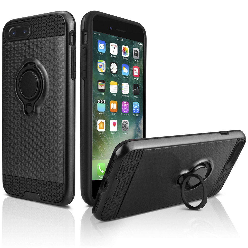 Apple iPhone 8 Plus -  Heavy-Duty Rugged Case with Hideaway Ring Holder Stand, Black