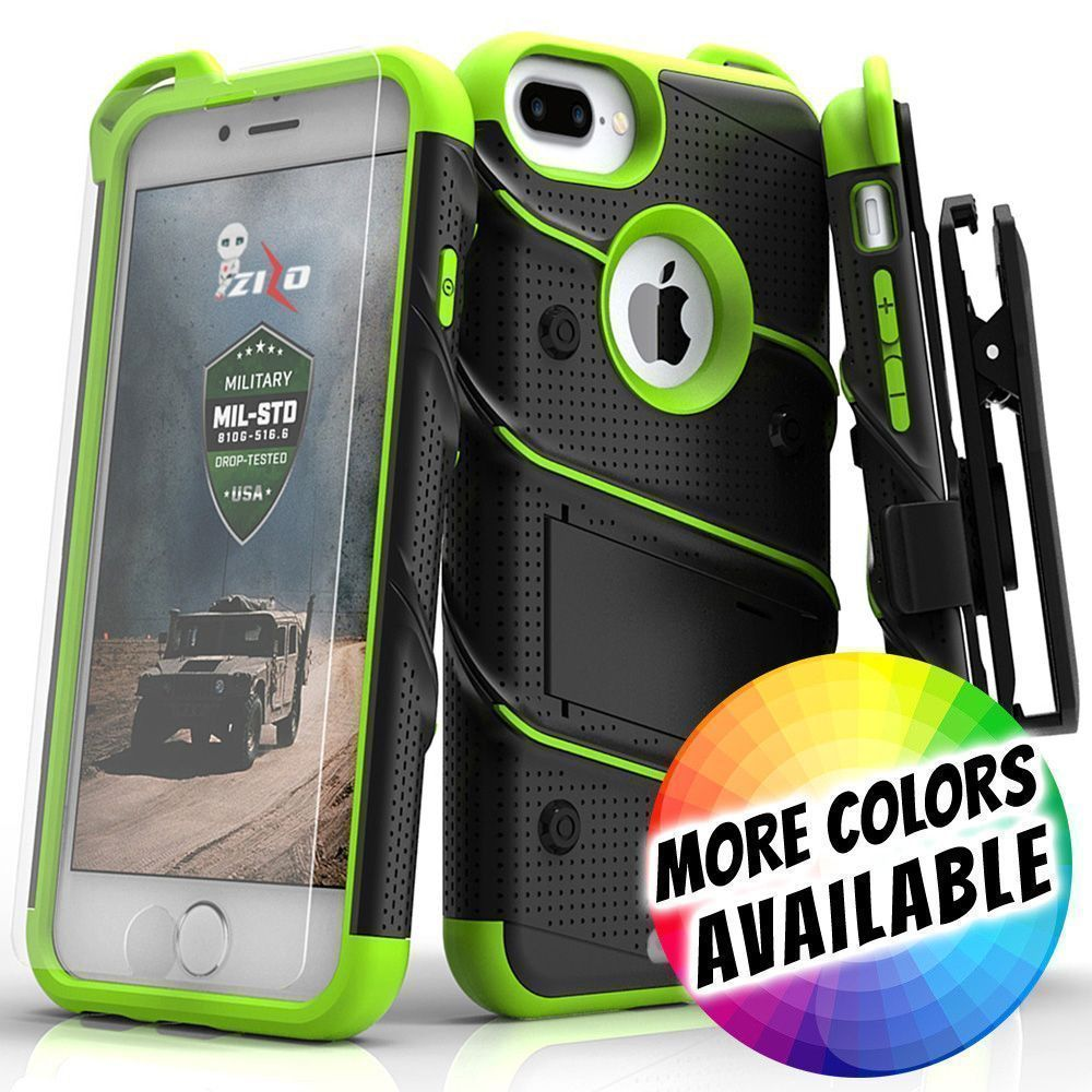 Apple iPhone 8 Plus -  Bolt Heavy-Duty Rugged Case, Holster and Screen Combo, Black/Neon Green