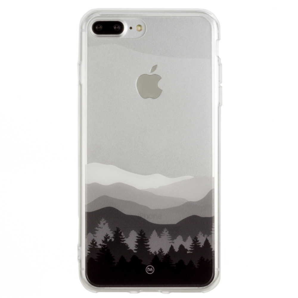 Apple iPhone 8 Plus -  Ultra Clear Grayscale Mountains Slim Case, Clear/Gray