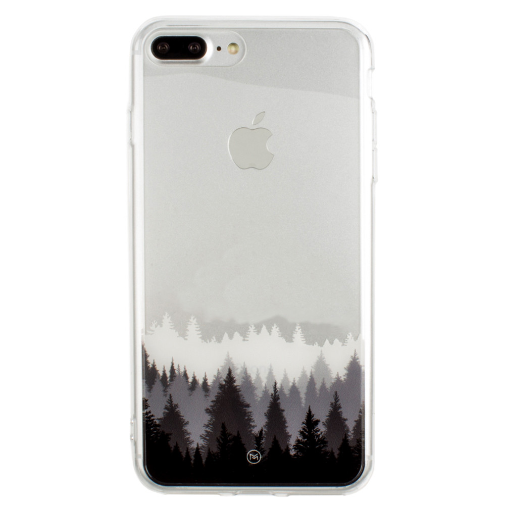 Apple iPhone 8 Plus -  Ultra Clear Grayscale Forest Slim Case, Clear/Gray