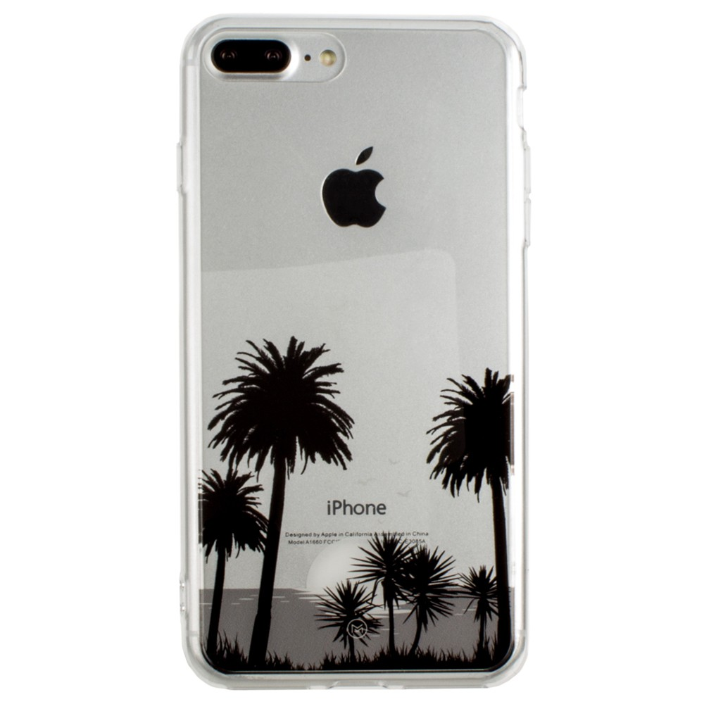 Apple iPhone 8 Plus -  Ultra Clear Grayscale Beach Palm Trees Slim Case, Clear/Gray