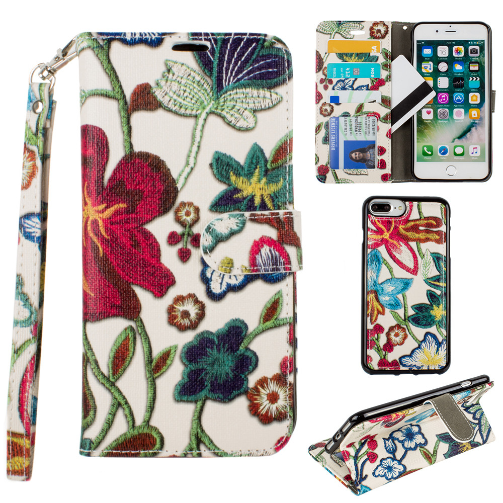 Apple iPhone 8 Plus -  Faux Embroidery Printed Floral Wallet Case with detachable matching slim case and wristlet, Multi-Color