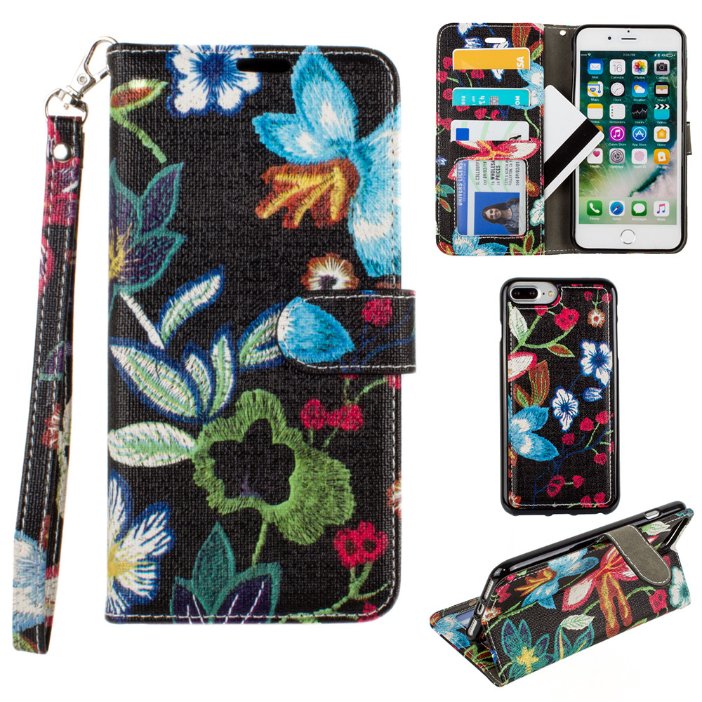 Apple iPhone 8 Plus -  Faux Embroidery Printed Floral Wallet Case with detachable matching slim case and wristlet, Multi-Color/Black