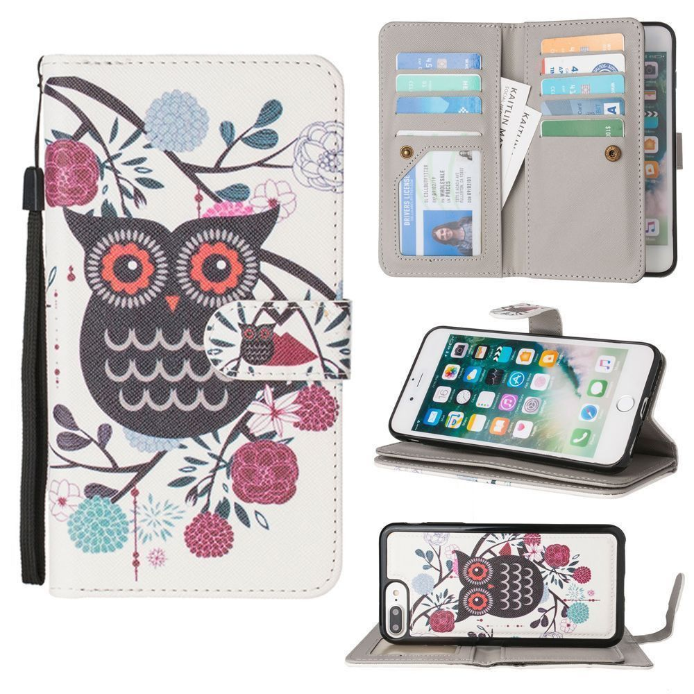 Apple iPhone 8 Plus -  Printed Owl Multi-Card Wallet with Matching Detachable Slim Case and Wristlet, Black/White