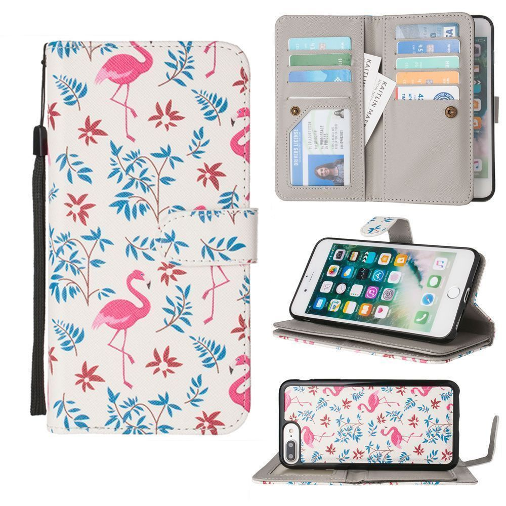 Apple iPhone 8 Plus -  Printed Flamingo Multi-Card Wallet with Matching Detachable Slim Case and Wristlet, Pink/White