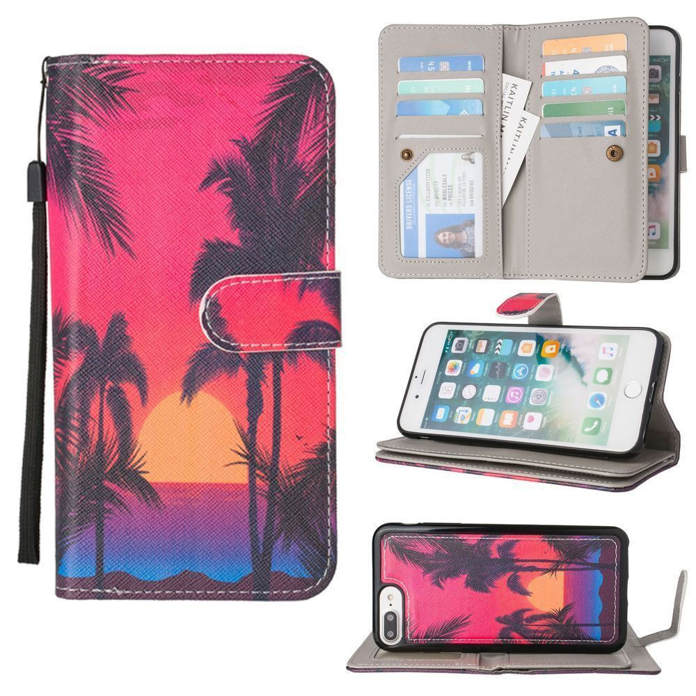 Apple iPhone 8 Plus -  Beach Sunset Multi-Card Wallet with Matching Detachable Slim Case and Wristlet, Multi-Color