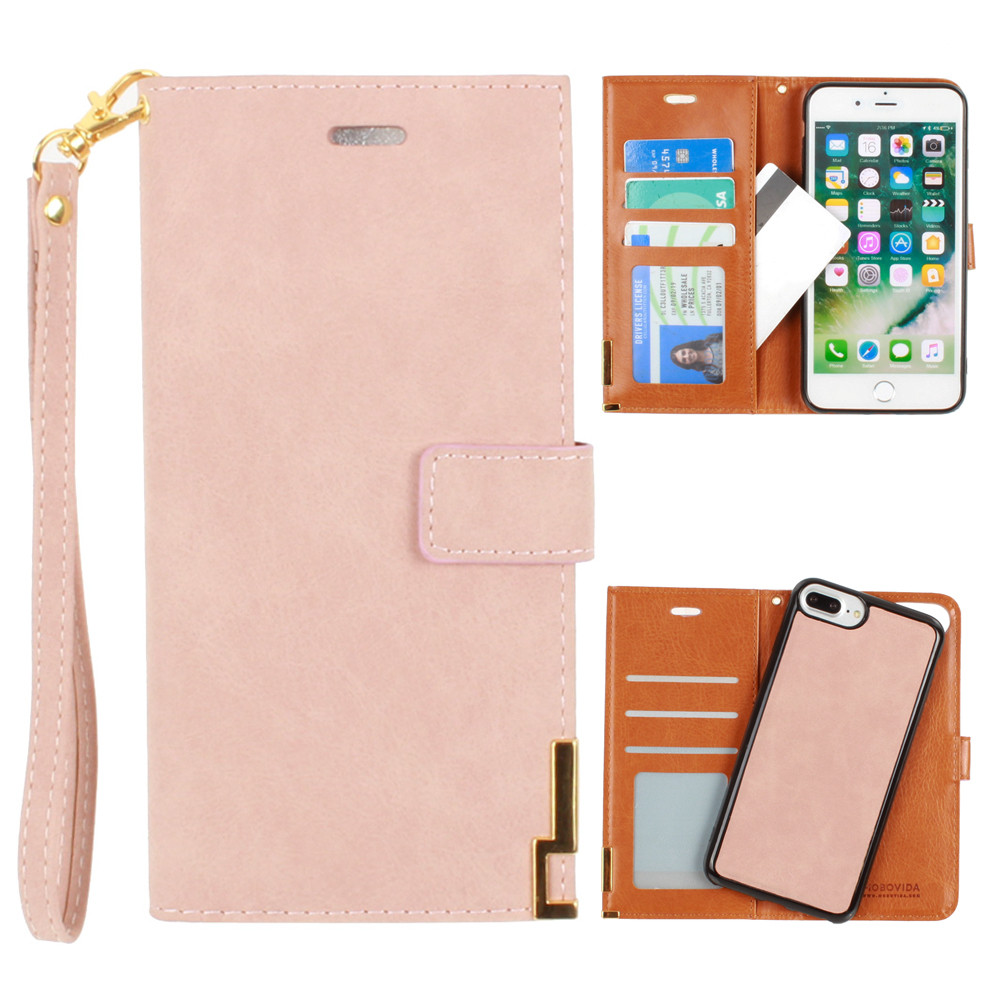 Apple iPhone 8 Plus -  Ultrasuede metal trimmed wallet with removable slim case and  wristlet, Taupe