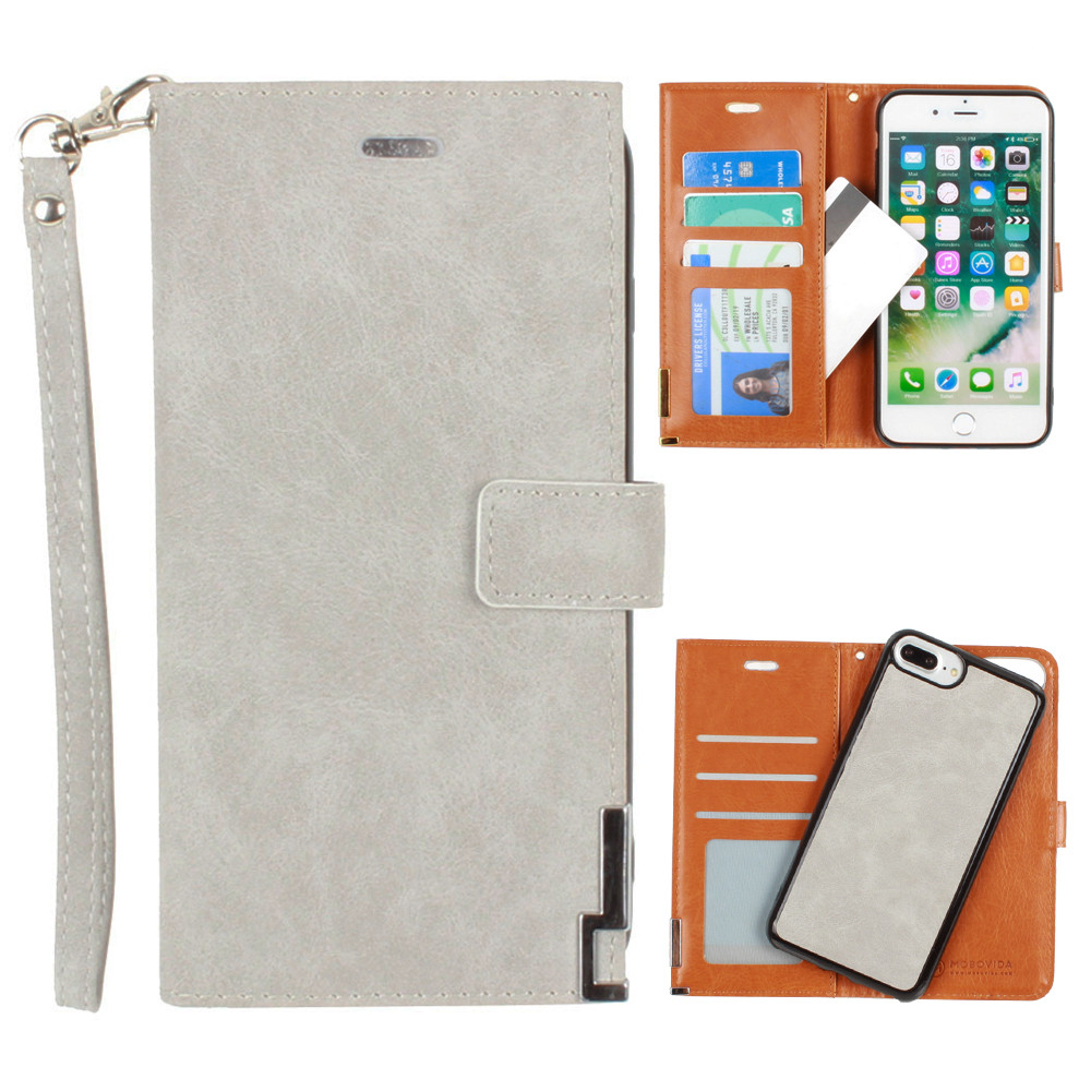 Apple iPhone 8 Plus -  Ultrasuede metal trimmed wallet with removable slim case and  wristlet, Gray