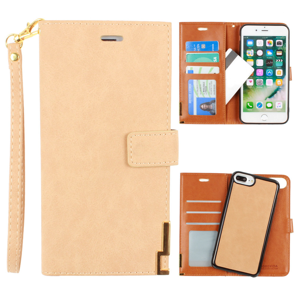 Apple iPhone 8 Plus -  Ultrasuede metal trimmed wallet with removable slim case and  wristlet, Tan