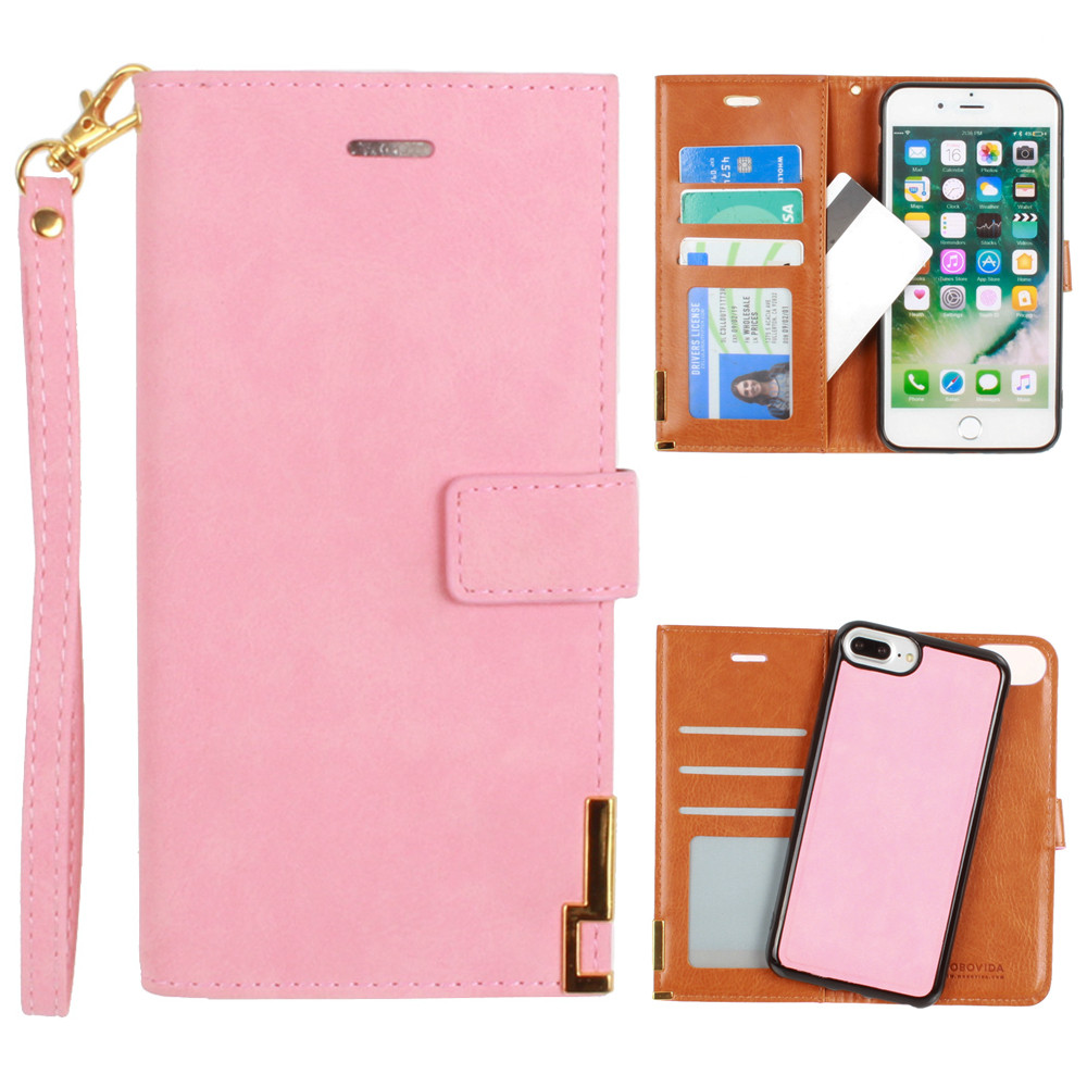 Apple iPhone 8 Plus -  Ultrasuede metal trimmed wallet with removable slim case and  wristlet, Pink