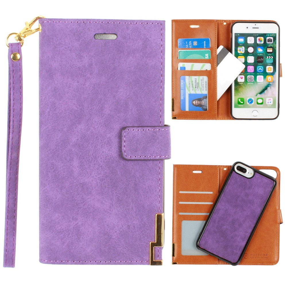 Apple iPhone 8 Plus -  Ultrasuede metal trimmed wallet with removable slim case and  wristlet, Purple