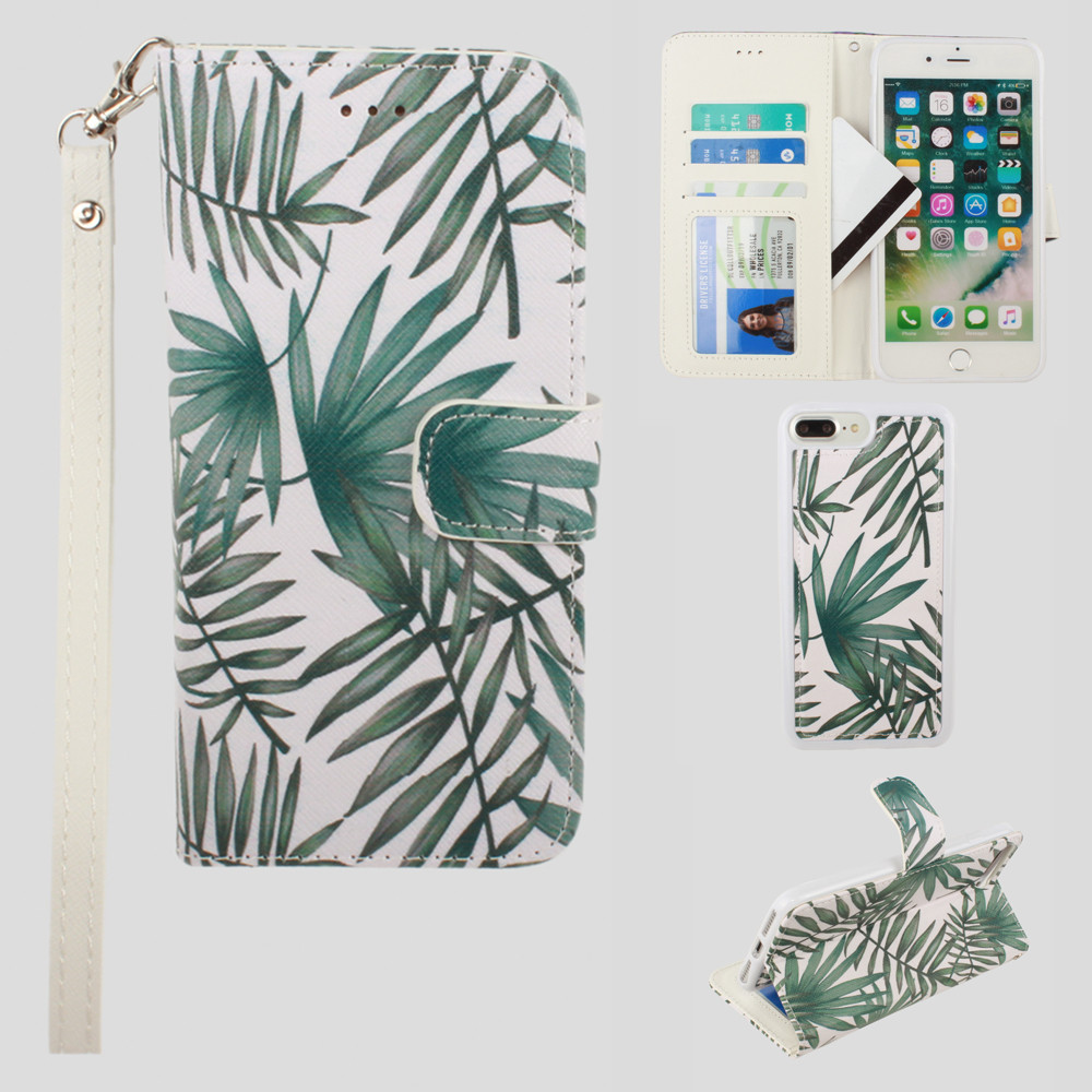 Apple iPhone 8 Plus -  Palm Leaves Printed Wallet with Matching Detachable Slim Case and Wristlet, White/Green