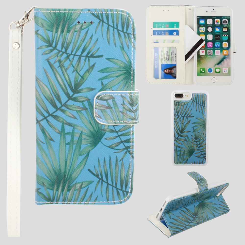 Apple iPhone 8 Plus -  Palm Leaves Printed Wallet with Matching Detachable Slim Case and Wristlet, Light Blue/Green