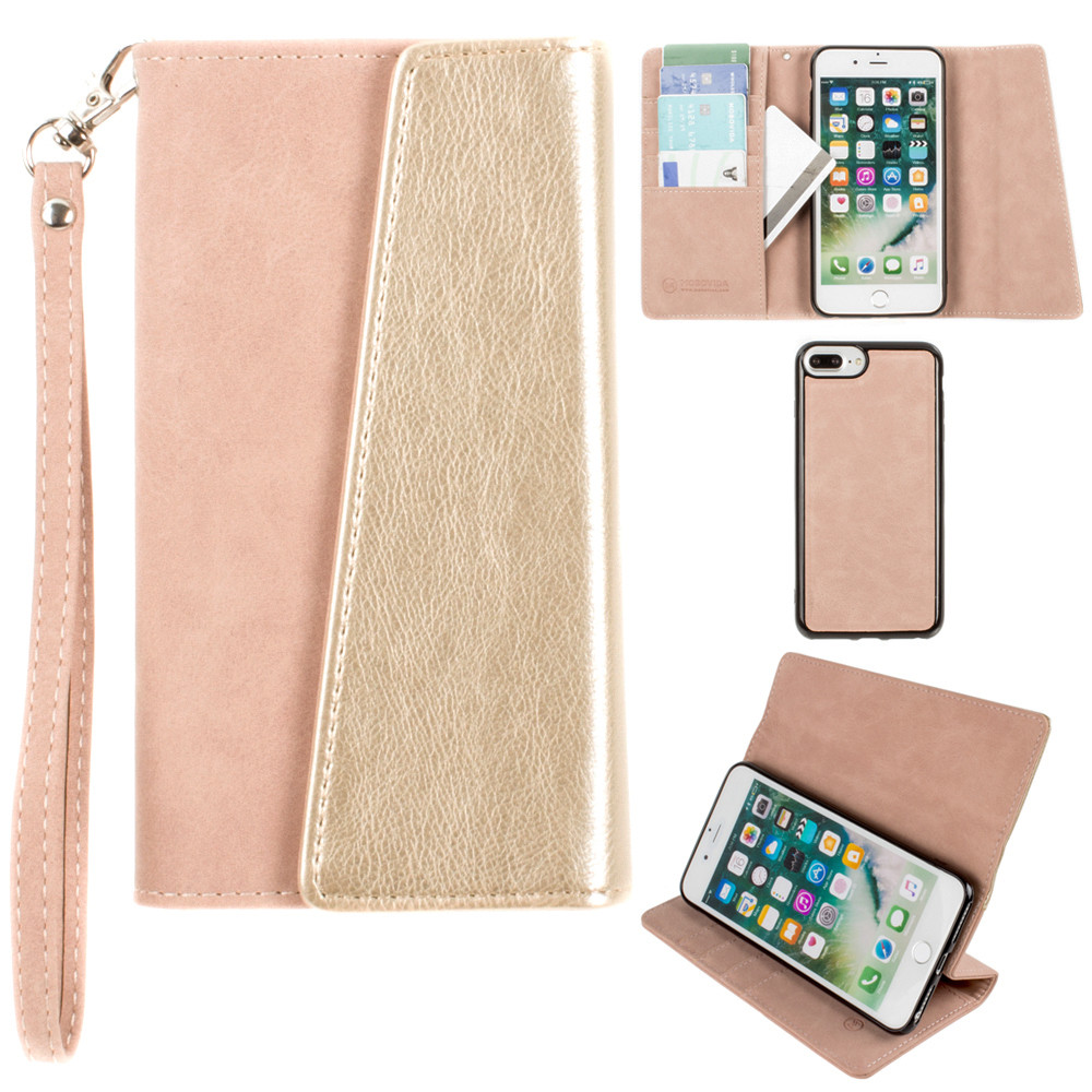 Apple iPhone 8 Plus -  UltraSuede Metallic Color Block Flap Wallet with Matching detachable Case and strap, Dusty Pink/Gold