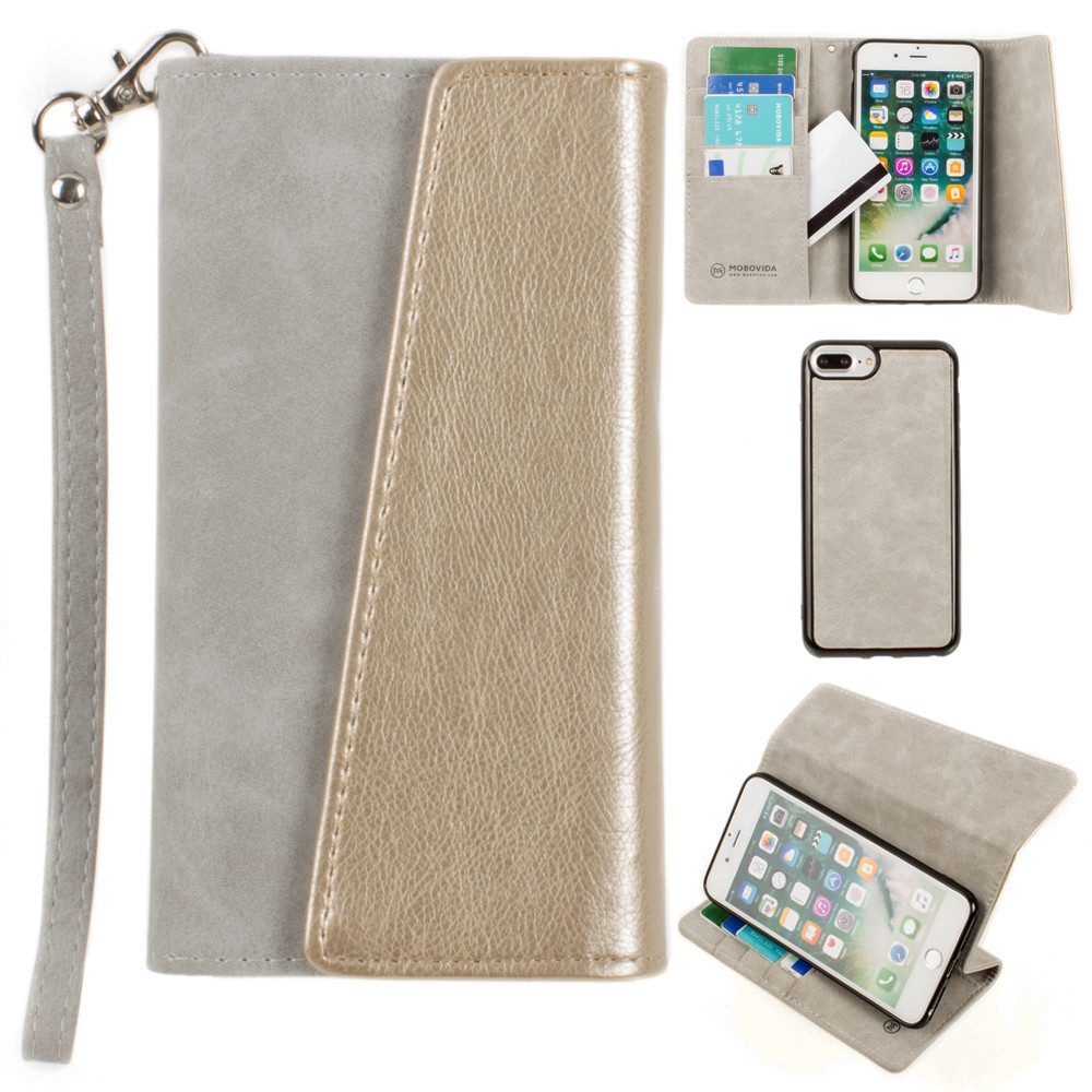 Apple iPhone 8 Plus -  UltraSuede Metallic Color Block Flap Wallet with Matching detachable Case and strap, Gray/Gold