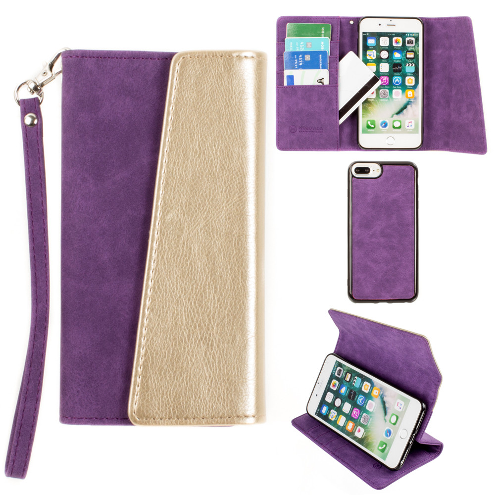 Apple iPhone 8 Plus -  UltraSuede Metallic Color Block Flap Wallet with Matching detachable Case and strap, Purple/Gold