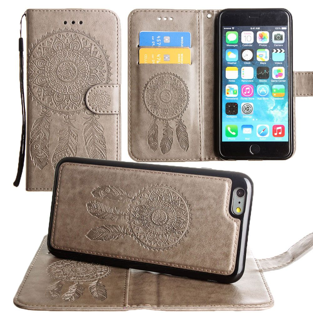Apple iPhone 8 Plus -  Embossed Dream Catcher Design Wallet Case with Detachable Matching Case and Wristlet, Gray