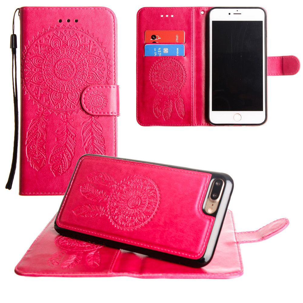 Apple iPhone 8 Plus -  Embossed Dream Catcher Design Wallet Case with Detachable Matching Case and Wristlet, Pink
