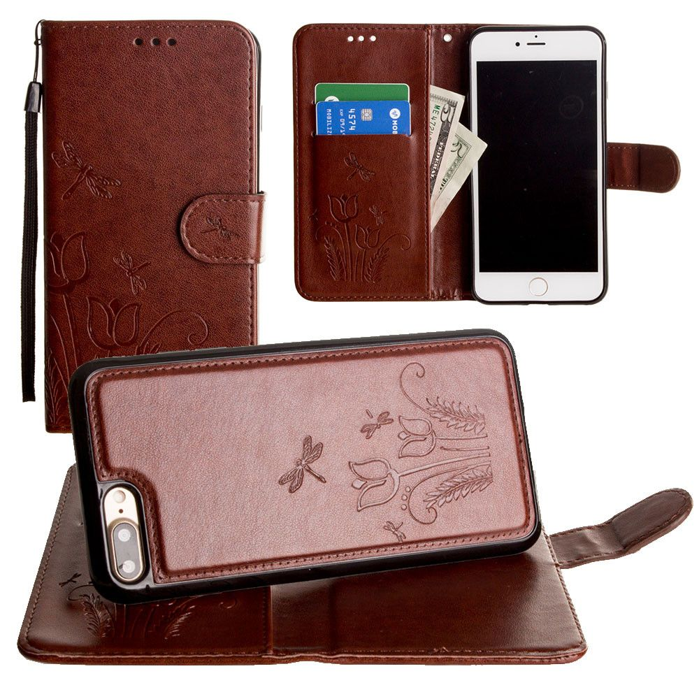 Apple iPhone 8 Plus -  Embossed dragonfly over tulip design wallet case with Matching detachable magnetic case and wristlet, Brown