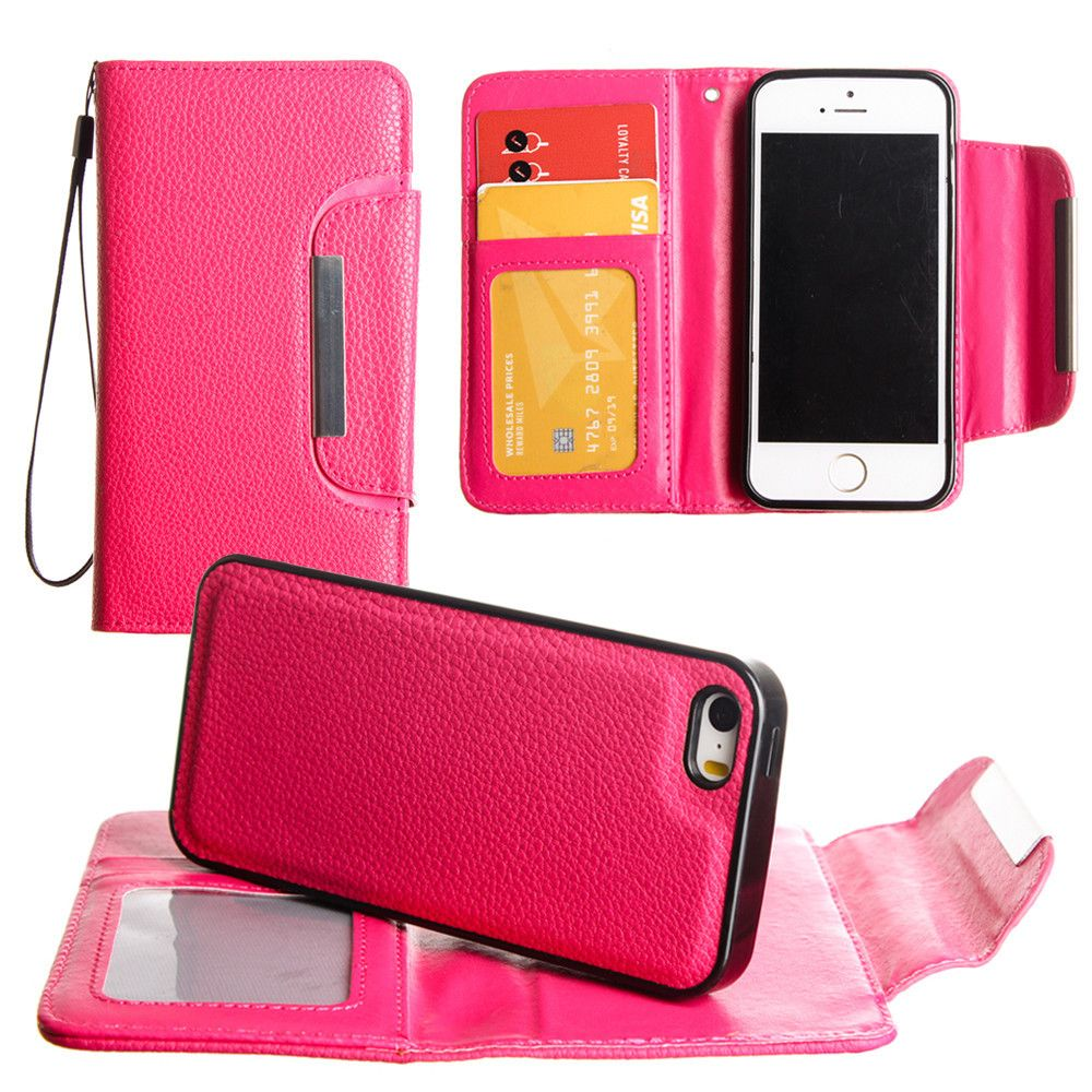 Apple iPhone 8 Plus -  Compact Wallet Case with Detachable Slim Case, Card Slots and wristlet, Hot Pink