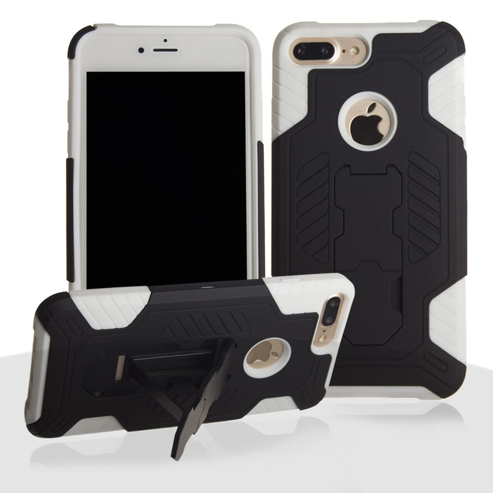 Apple iPhone 8 Plus -  Mantas Heavy-Duty Rugged Case with Stand and Holster Combo, Black/White