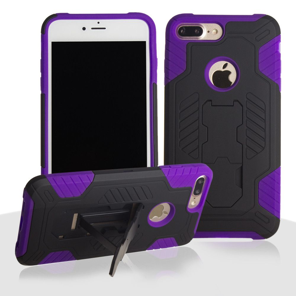 Apple iPhone 8 Plus -  Mantas Heavy-Duty Rugged Case with Stand and Holster Combo, Black/Purple