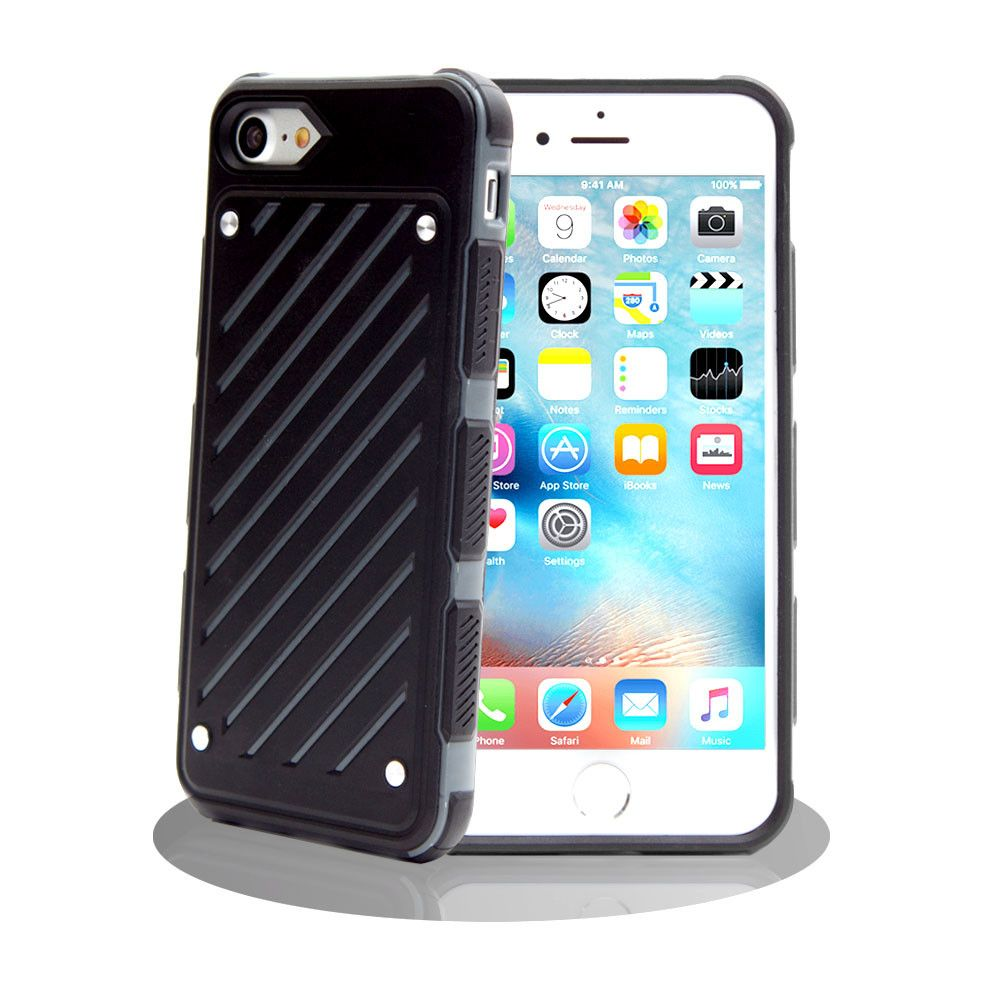 Apple iPhone 8 Plus -  Stripe Shield Heavy duty rugged case, Black/Gray