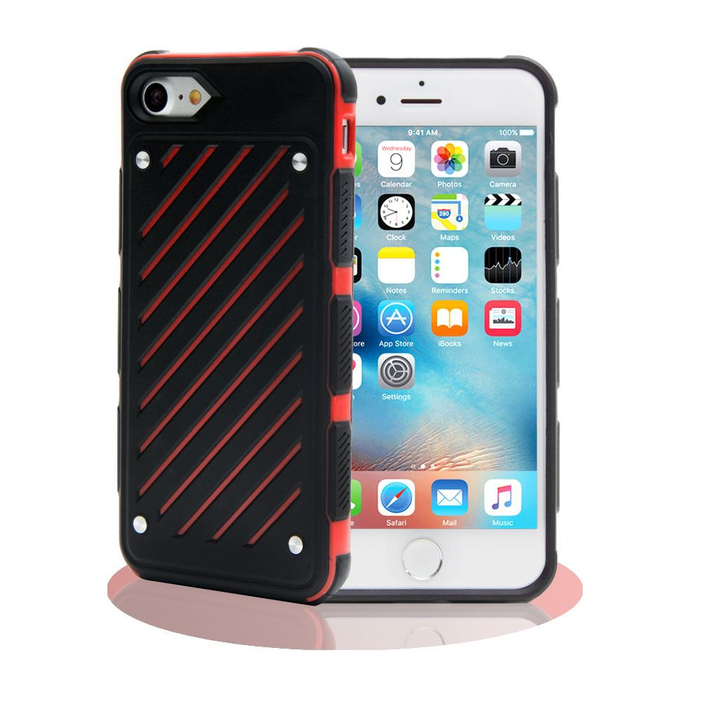Apple iPhone 8 Plus -  Stripe Shield Heavy duty rugged case, Black/Red