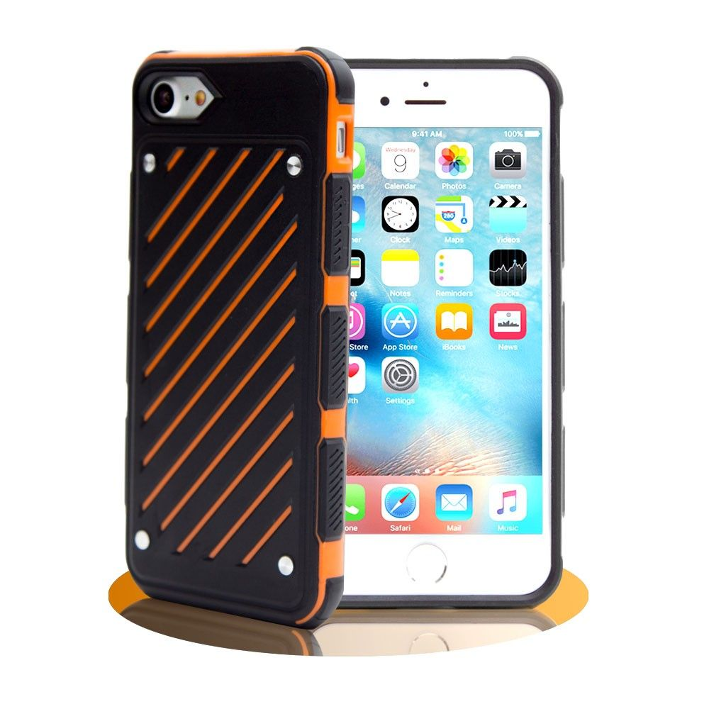 Apple iPhone 8 Plus -  Stripe Shield Heavy duty rugged case, Black/Orange