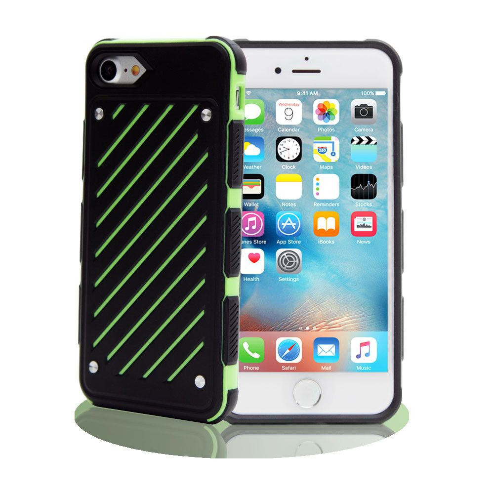 Apple iPhone 8 Plus -  Stripe Shield Heavy duty rugged case, Black/Lime Green