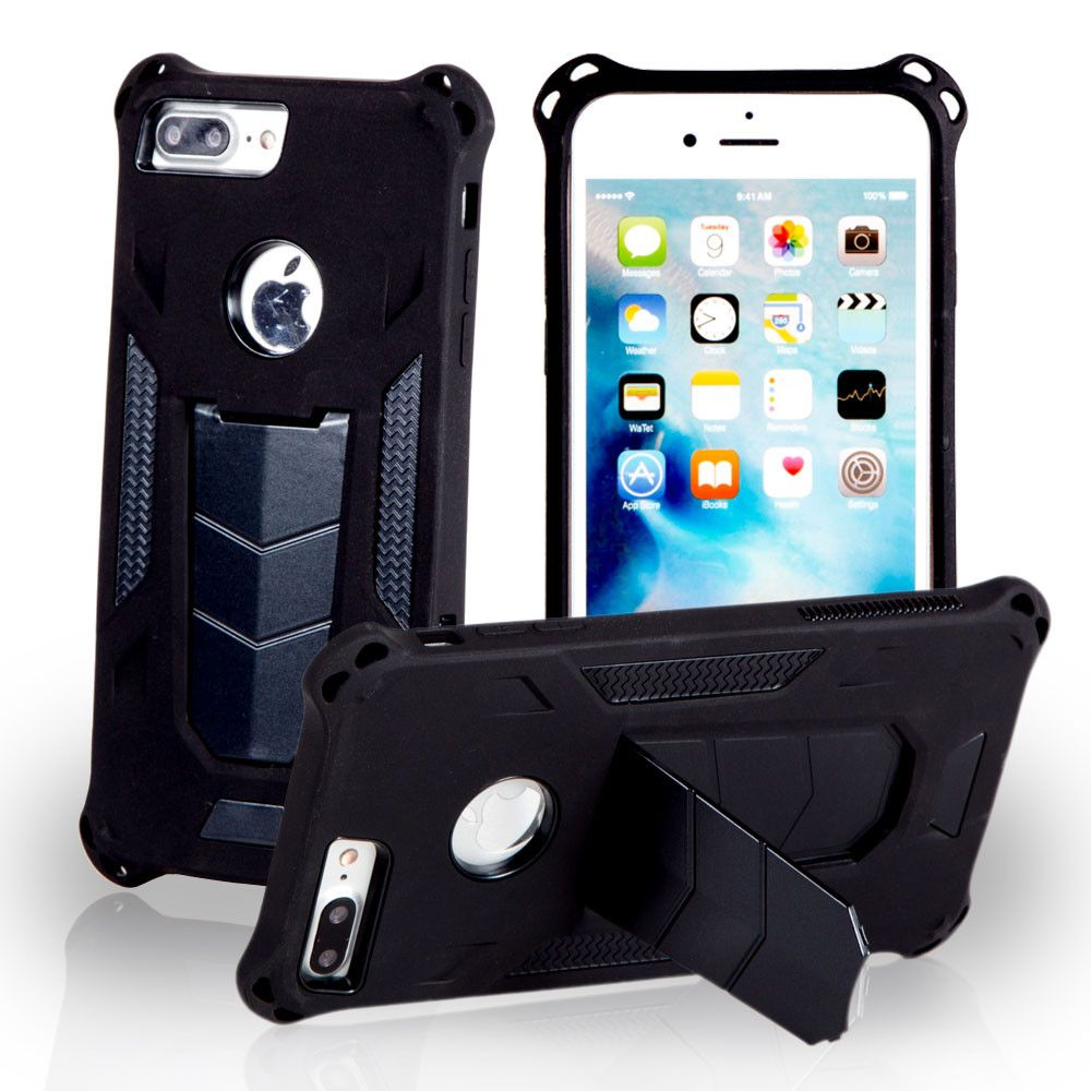 Apple iPhone 8 Plus -  MAXX Shield Rugged Case with Stand, Black
