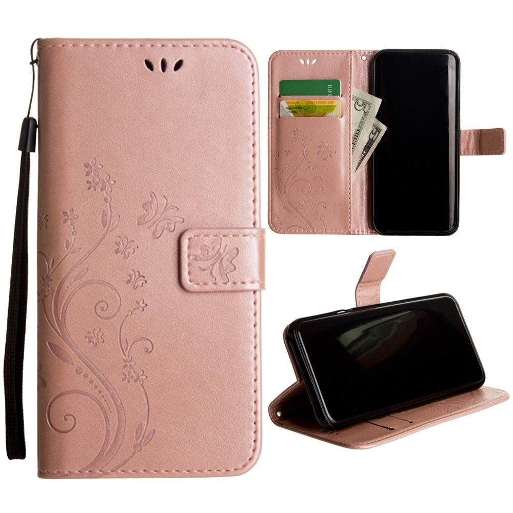 Apple iPhone 8 Plus -  Embossed Butterfly Design Leather Folding Wallet Case with Wristlet, Rose Gold