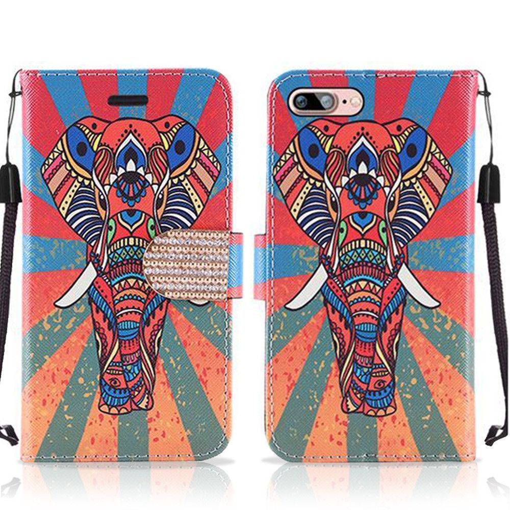 Apple iPhone 8 Plus -  Colorful Exotic Elephant Shimmering Folding Phone Wallet, Multi-color