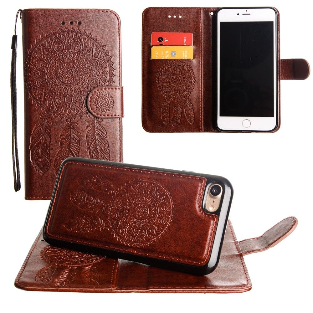 Apple iPhone 8 Plus -  Embossed Dream Catcher Design Wallet Case with Detachable Matching Case and Wristlet, Brown