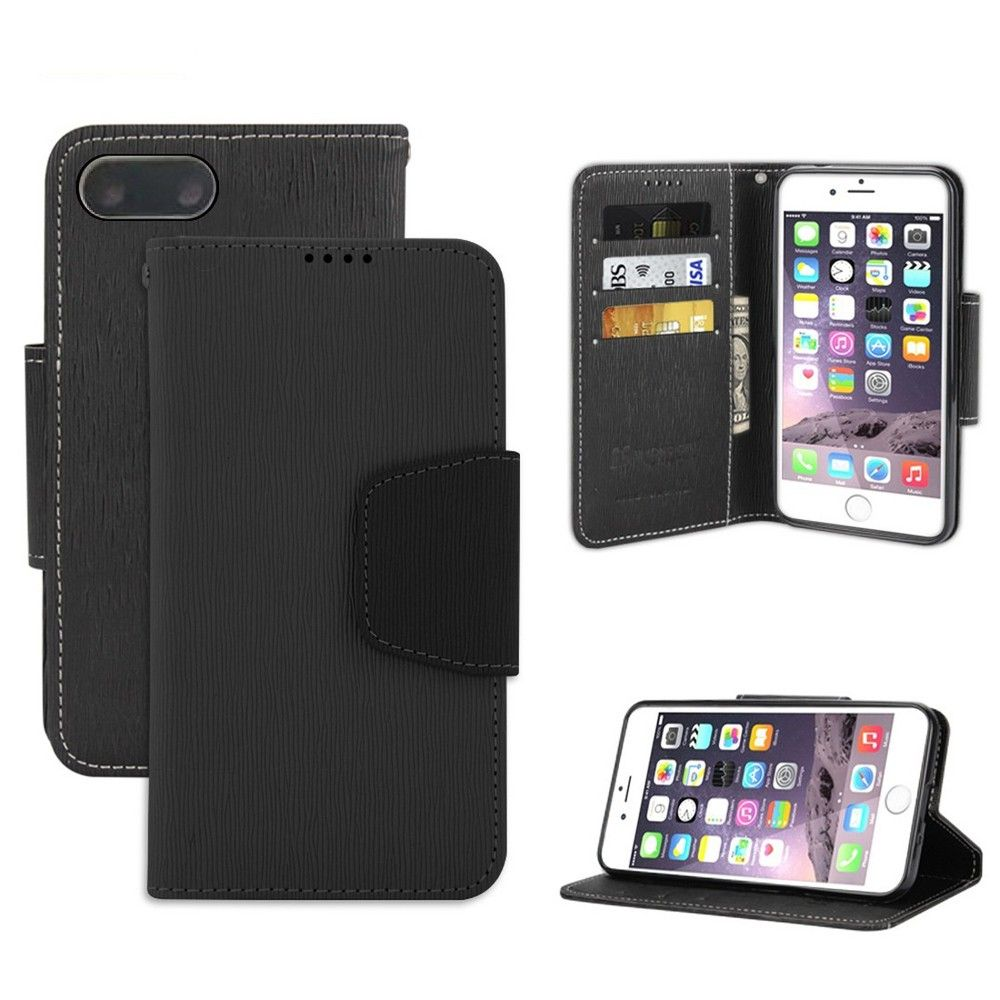Apple iPhone 8 Plus -  Infolio Leather Folding Wallet Phone Case, Black