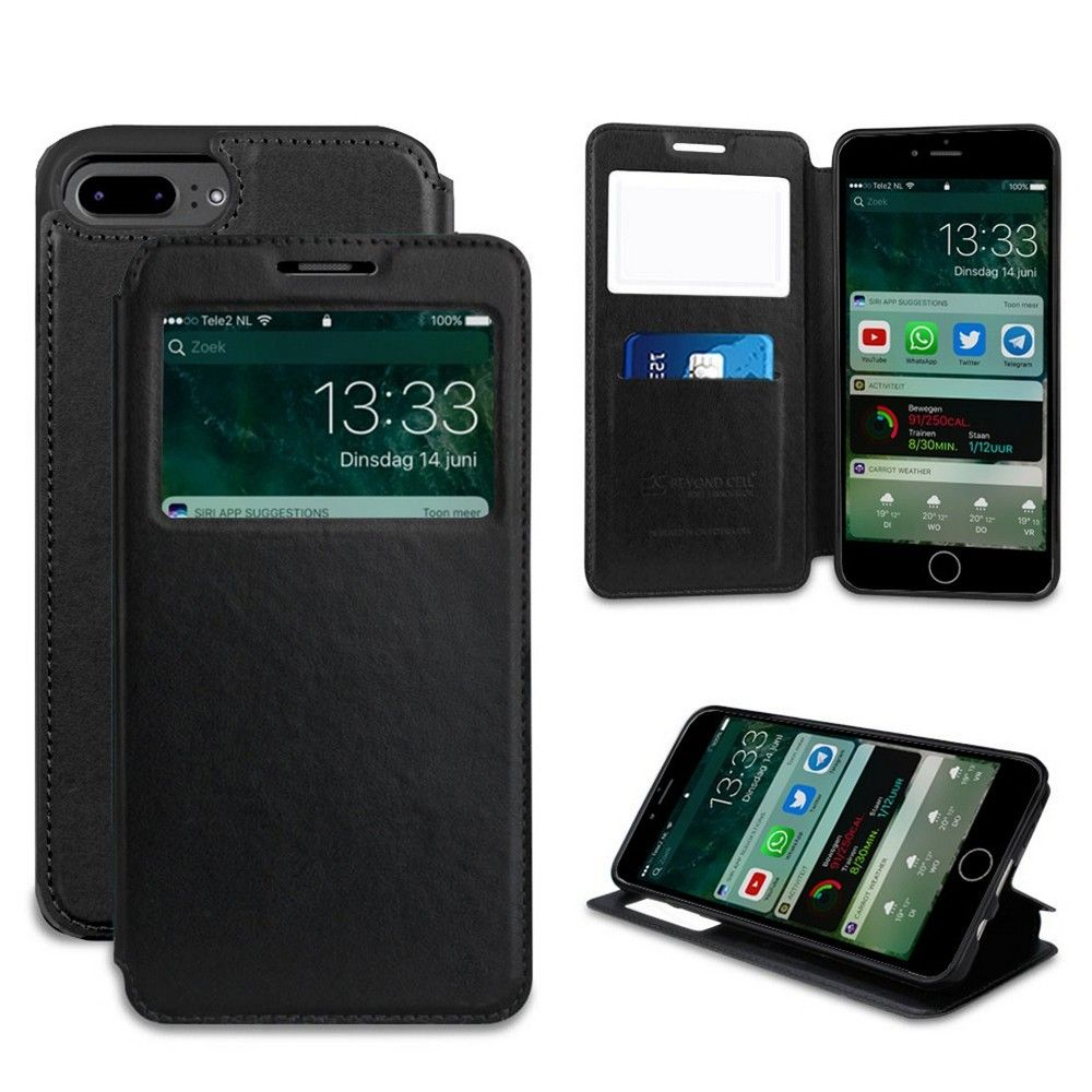 Apple iPhone 8 Plus -  Infolio Leather Open View Folding Wallet Phone Case, Black