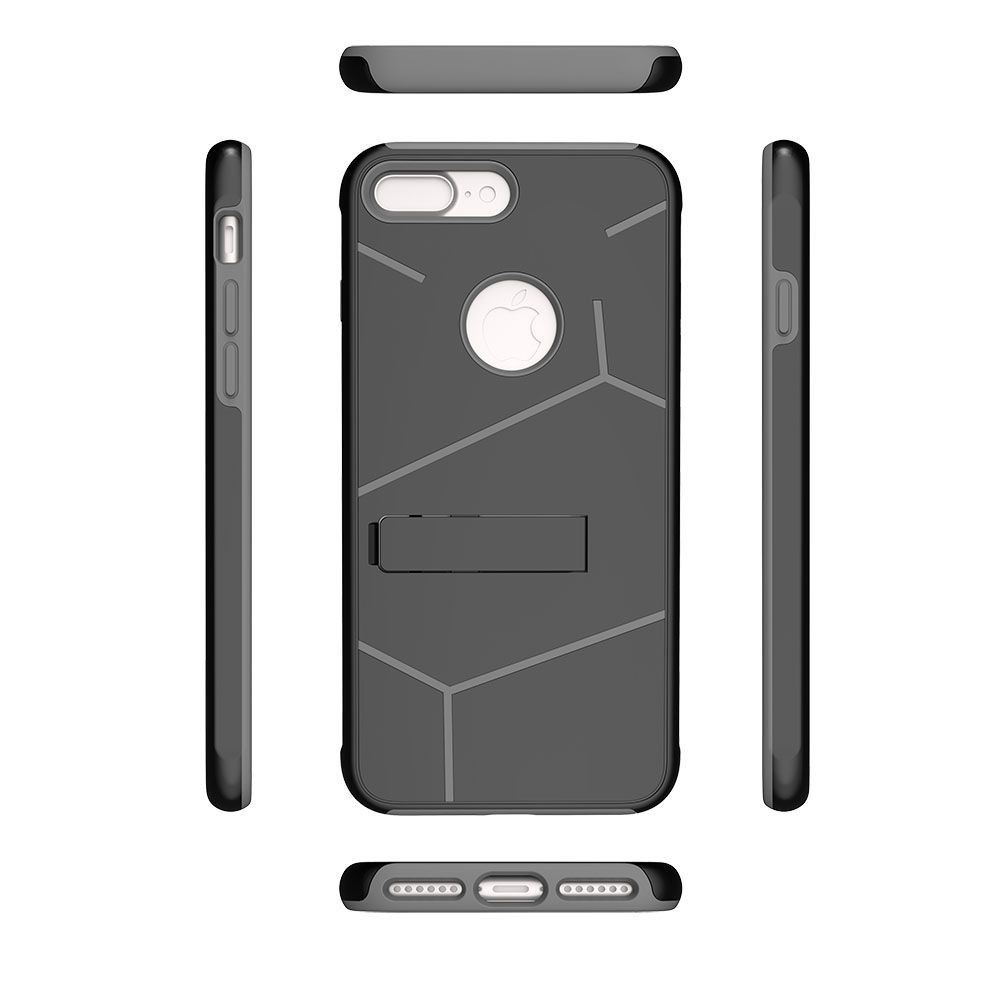 Apple iPhone 8 Plus -  Helix Dual Layer Rugged Case with Stand, Black/Gray