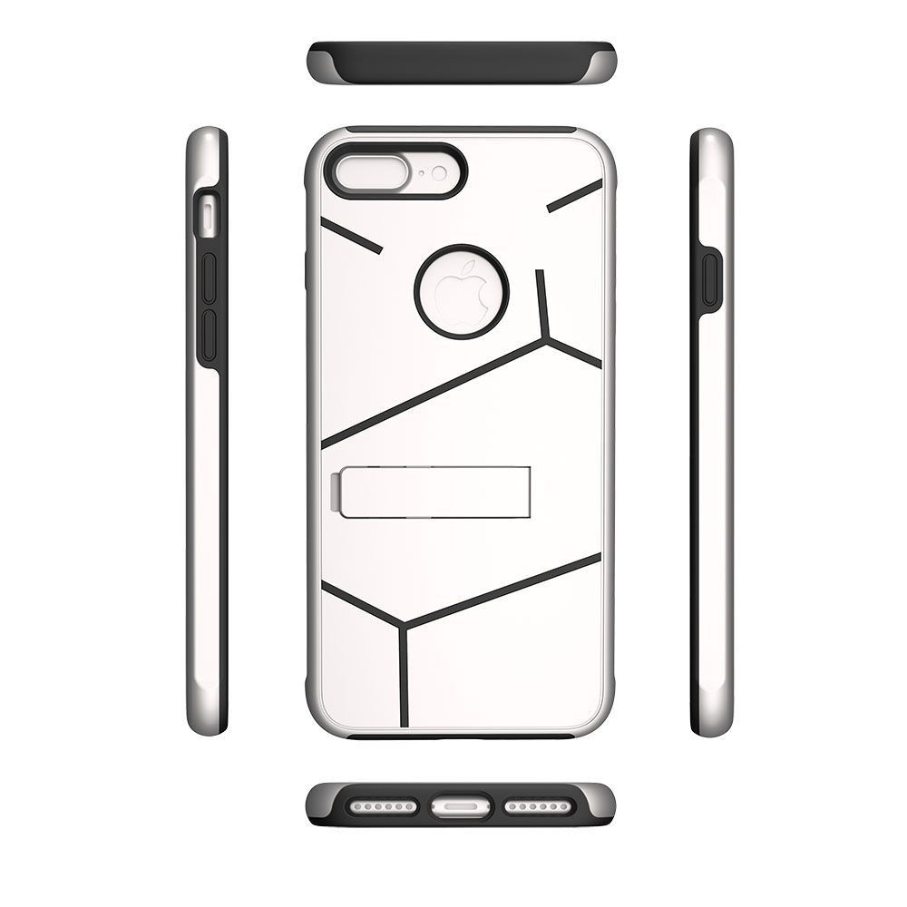 Apple iPhone 8 Plus -  Helix Dual Layer Rugged Case with Stand, Silver/Black