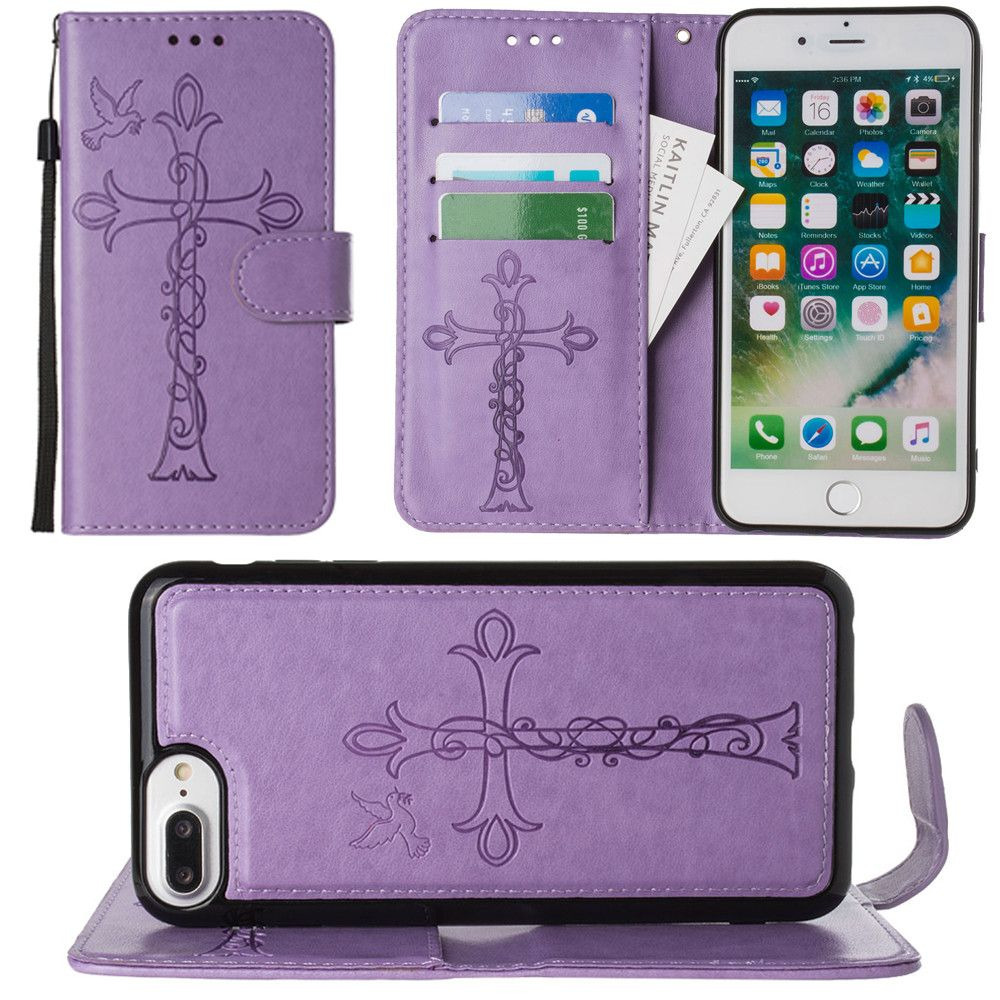 Apple iPhone 8 Plus -  Embossed Cross and Dove Wallet with Detachable Matching Slim Case and Wristlet, Lavender