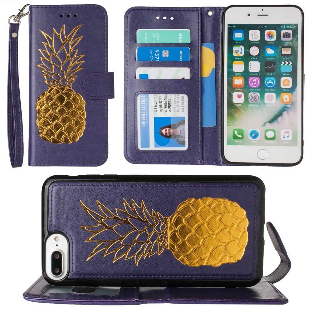 Apple iPhone 8 Plus -  Embossed Golden Pineapple Wallet with Detachable Matching Slim Case and Wristlet, Purple/Gold