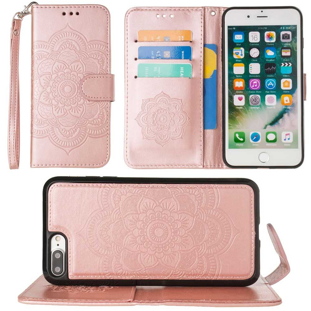 Apple iPhone 8 Plus -  Embossed Mandala Wallet Case with Detachable Matching Case and Wristlet, Rose Gold