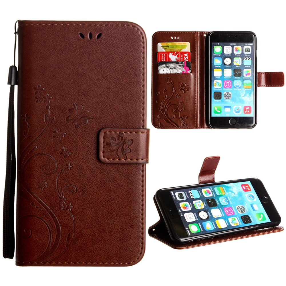 Apple iPhone 8 Plus -  Embossed Butterfly Design Leather Folding Wallet Case with Wristlet, Coffee