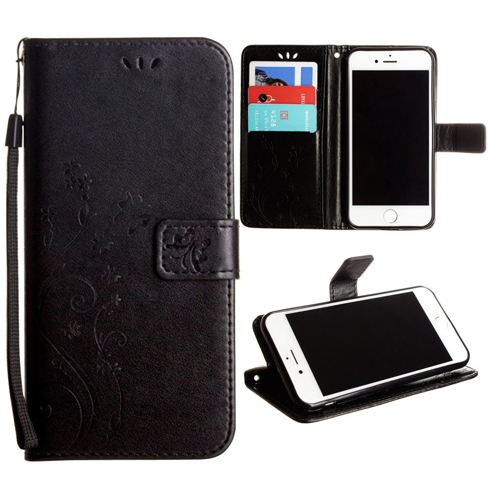 Apple iPhone 8 Plus -  Embossed Butterfly Design Leather Folding Wallet Case with Wristlet, Black