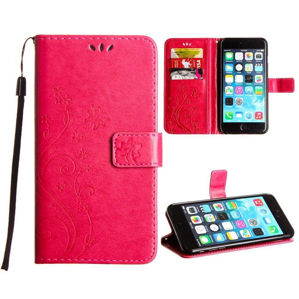 Apple iPhone 8 Plus -  Embossed Butterfly Design Leather Folding Wallet Case with Wristlet, Hot Pink
