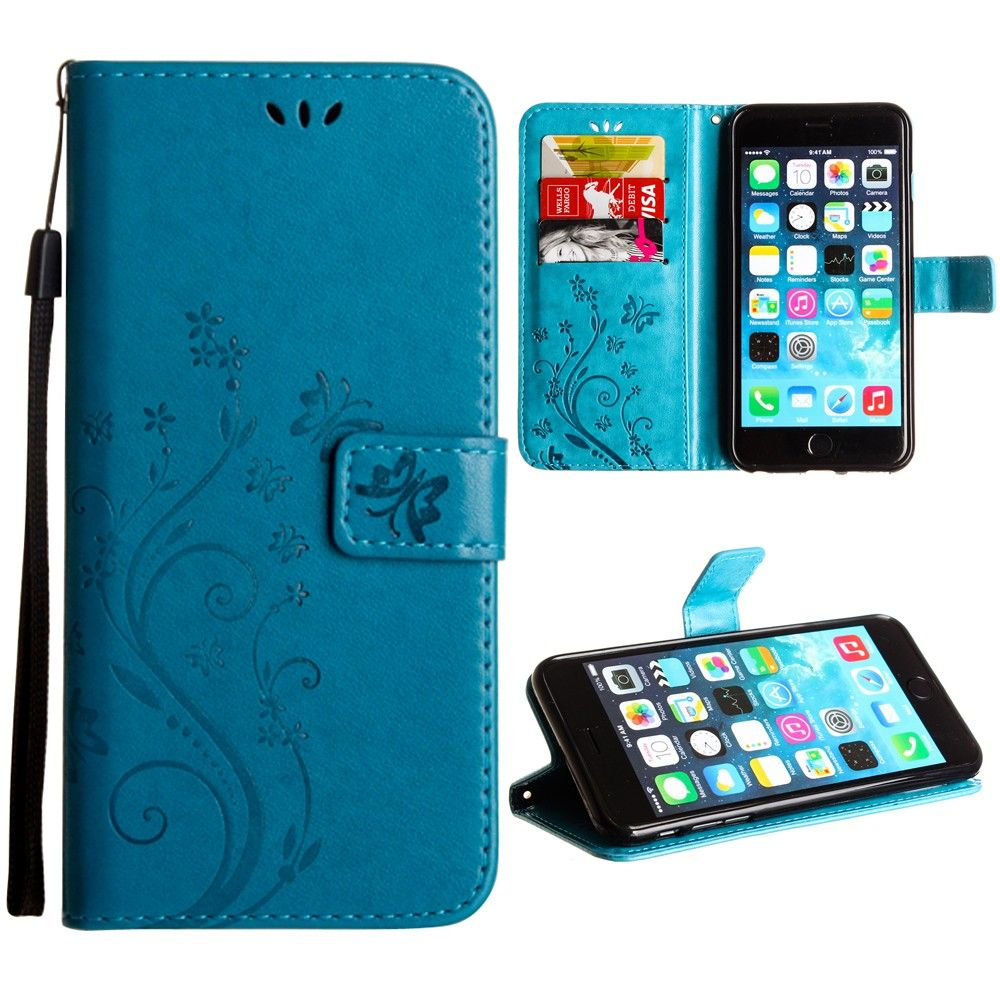 Apple iPhone 8 Plus -  Embossed Butterfly Design Leather Folding Wallet Case with Wristlet, Teal