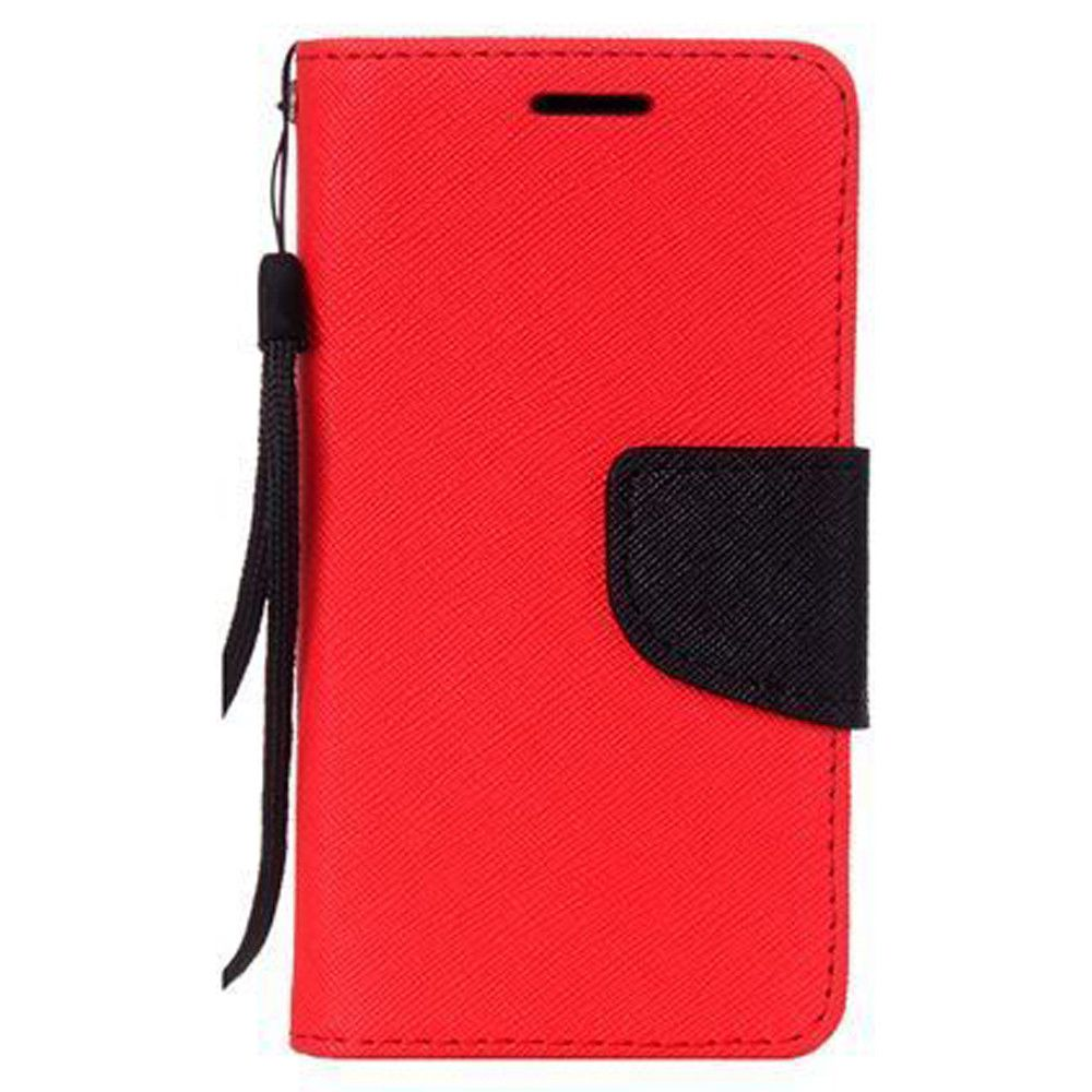Apple iPhone 8 Plus -  Premium 2 Tone Leather Folding Wallet Case, Red/Black